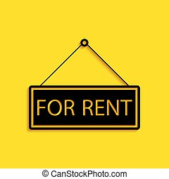 Black Hanging sign with text For rent icon isolated on yellow background. Long shadow style. Vector
