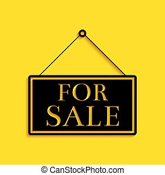 Black Hanging sign with text For Sale icon isolated on yellow background. Long shadow style. Vector