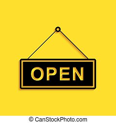 Black Hanging sign with text Open door icon isolated on yellow background. Long shadow style. Vector