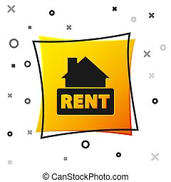 Black Hanging sign with text Rent icon isolated on white background. Signboard with text For Rent. Yellow square button. Vector