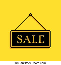 Black Hanging sign with text Sale icon isolated on yellow background. Long shadow style. Vector
