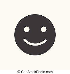 Black happy smile emoji flat icon.
