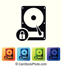 Black Hard disk drive and lock icon isolated on white background. HHD and padlock. Security, safety, protection concept. Set icon in color square buttons. Vector Illustration