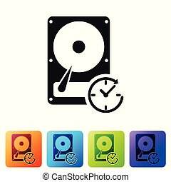 Black Hard disk drive with clockwise sign, data recovery icon isolated on white background. Set icon in color square buttons. Vector Illustration