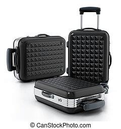 Black hardcase suitcases isolated on white background. 3D illustration