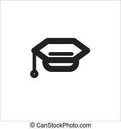 black hat graduate vector line icon