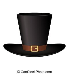 Black hat with a gold buckle on  white background