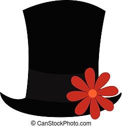 Black hat with flower , vector or color illustration