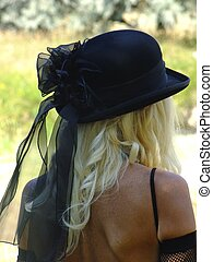 Black Hat with lace on Blonde