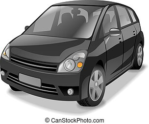 black hatchback car - illustration of mini hatchback cars in...