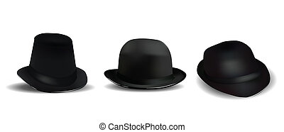 Black Hats Isolated on White