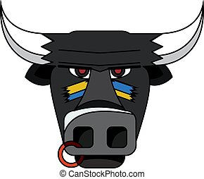 Black head of a bull, vector illustration.