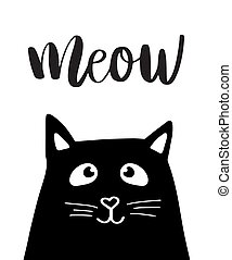 Black head of Cute Cat with hand lettering word Meow on...