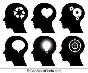 black head profiles with idea symbols, abstract illustrations