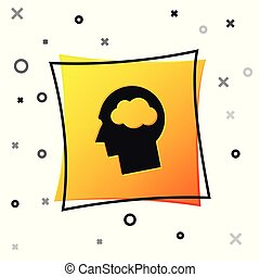 Black Head silhouette with cloud icon isolated on white background. Dreaming sign. Yellow square button. Vector Illustration