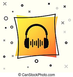 Black Headphone and sound waves icon isolated on white background. Earphone sign. Concept object for listening to music, service, communication and operator. Yellow square button. Vector Illustration