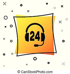 Black Headphone for support or service icon isolated on white background. Concept of consultation, hotline, call center, faq, maintenance, assistance. Yellow square button. Vector Illustration