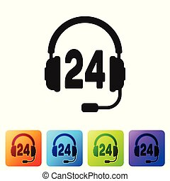 Black Headphone for support or service icon on white background. Concept of consultation, hotline, call center, faq, maintenance, assistance. Set icon in color square buttons. Vector Illustration