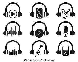 black headphone with music icons set