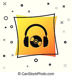 Black Headphones and CD or DVD icon isolated on white background. Earphone sign. Compact disk symbol. Yellow square button. Vector Illustration