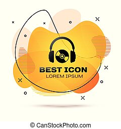 Black Headphones and CD or DVD icon isolated on white background. Earphone sign. Compact disk symbol. Fluid color banner. Vector Illustration