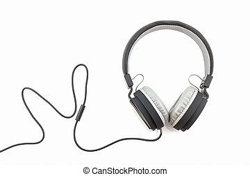 Black Headphones. - Black Headphones on a White Background.