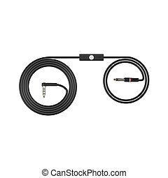 Black headphones cable isolated on white background 3d illustration render