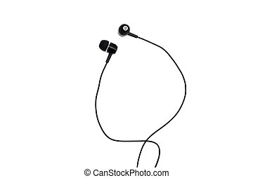Black headphones close up on a white background