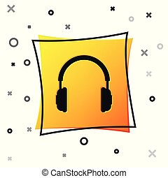 Black Headphones icon isolated on white background. Earphones sign. Concept object for listening to music, service, communication and operator. Yellow square button. Vector Illustration