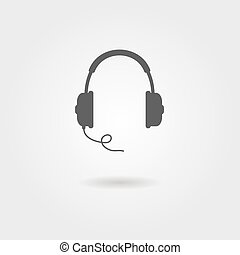 black headphones icon with shadow. vector illustration