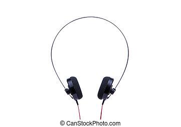 Black headphones isolated on white background.