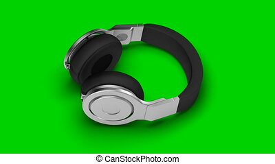 black headphones on green 3d render Isometric view