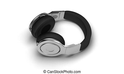 black headphones on white 3d render Isometric view