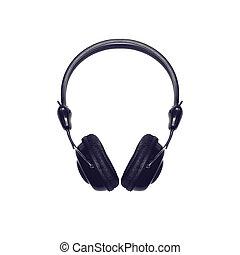 Black headphones on white background, top view