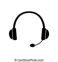 black headphones with microphone icon- vector illustration