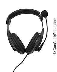 Black headphones with microphone isolated on white ...