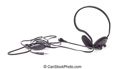 Black headset with full size headphones and microphone...