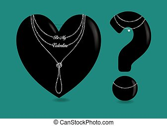 Black Heart and Question Mark with Pearl Collars
