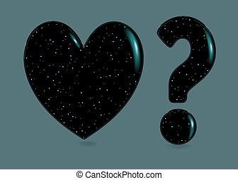 Black Heart and Question Mark with sparkles