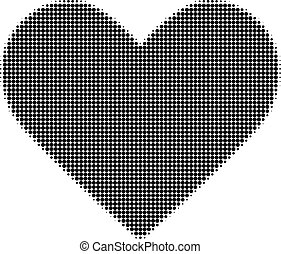 Black Heart Halftone Dotted Icon