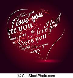 "Black heart heart made of ""I love you"" phrase"