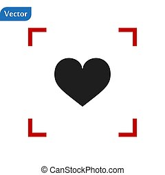 Black Heart icon in a red viewfinder isolated on white background. Conceptual vector illustration, easy to edit. eps 10