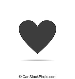 Black heart icon isolated on white background. Vector illustration