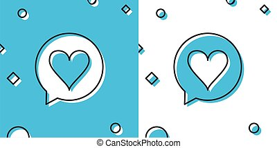 Black Heart in speech bubble icon isolated on blue and white background. Heart shape in message bubble. Love sign. Valentines day symbol. Random dynamic shapes. Vector Illustration