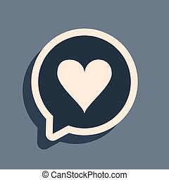 Black Heart in speech bubble icon isolated on grey background. Heart shape in message bubble. Love sign. Valentines day symbol. Long shadow style. Vector Illustration