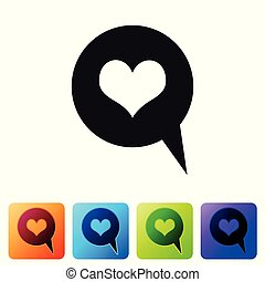 Black Heart in speech bubble icon isolated on white background. Heart shape in message bubble. Love sign. Valentines day symbol. Set icon in color square buttons. Vector Illustration