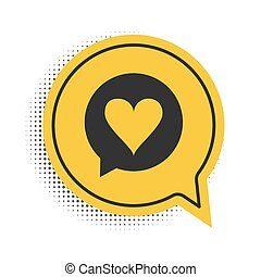 Black Heart in speech bubble icon isolated on white background. Heart shape in message bubble. Love sign. Valentines day symbol. Yellow speech bubble symbol. Vector