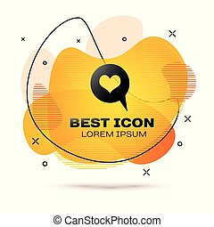 Black Heart in speech bubble icon isolated on white background. Heart shape in message bubble. Love sign. Valentines day symbol. Fluid color banner. Vector Illustration