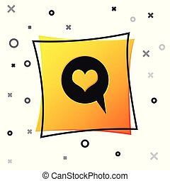 Black Heart in speech bubble icon isolated on white background. Heart shape in message bubble. Love sign. Valentines day symbol. Yellow square button. Vector Illustration