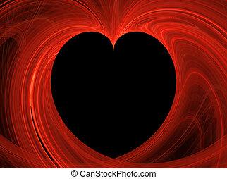 Black Heart Inside Red Fractal Copy